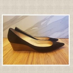 Suede pointed toe wedge.